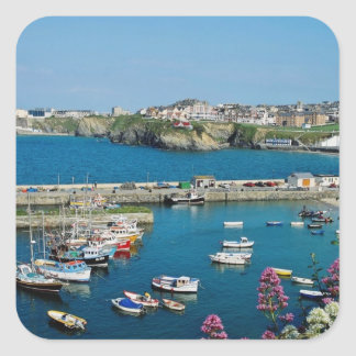 Red Newquay harbor, Cornwall, U.K. flowers Square Sticker