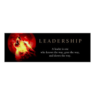 Red Night Fullmoon Leadership Wolf Poster