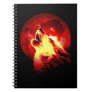 Red Night & Howling Wolf Portrait Notebook