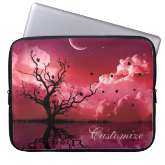 Red Night Sky Reflections Scenic Laptop Sleeve