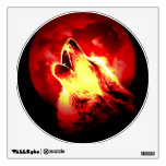 Red Night Wolf Howling at Moon Wall Decal