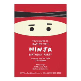 Red Ninja Birthday Party Invitation