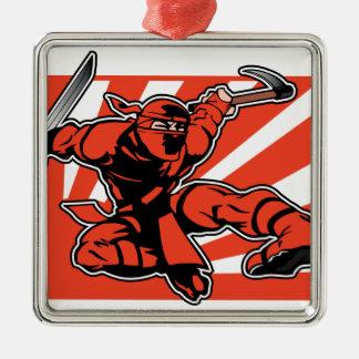 Red Ninja Metal Ornament