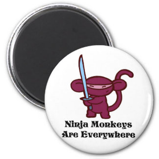 Red Ninja Monkey with Sword 2 Inch Round Magnet