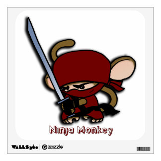 Red Ninja Monkey with Sword Wall Sticker