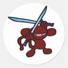 Red Ninja Overhead-No Words Classic Round Sticker