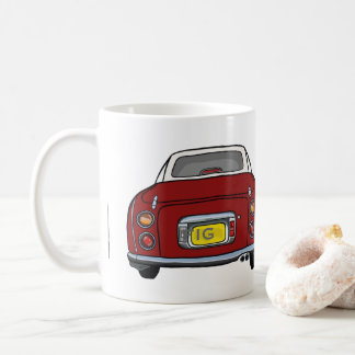 Red Nissan Figaro Car Mug, Custom Initials Coffee Mug