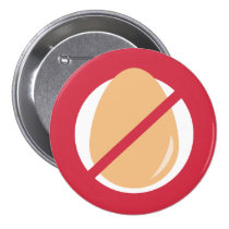 Red No Eggs Kids Egg Allergy Alert Pinback Button