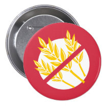 Red No Gluten or Wheat Allergy Alert Celiac Kids Button