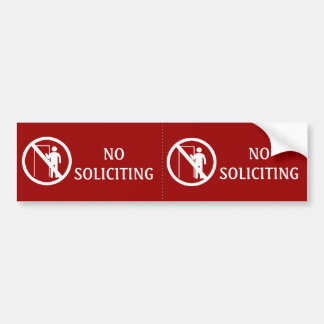 Red No Soliciting Stickers, Weatherproof Bumper Sticker