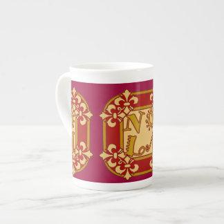 Red NOLA Fleu De Lis Tea Cup