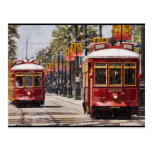 Red NOLA Streetcars Post Card