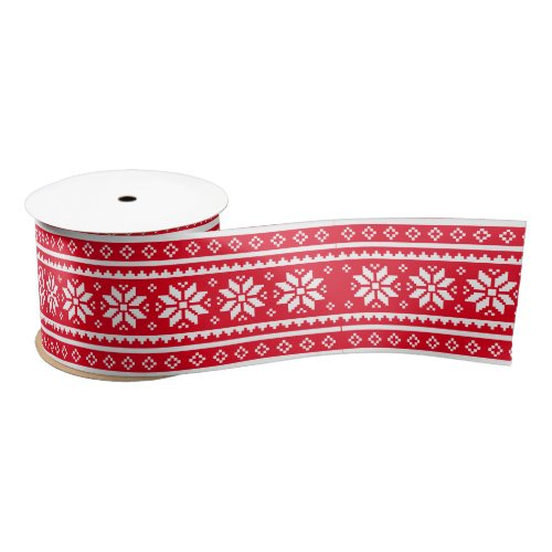 Red nordic sweater pattern Christmas ribbon
