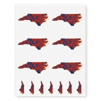 Red North Carolina State Name Word Art Temporary Tattoos
