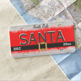 Red North Pole Santa Plastic License Plate