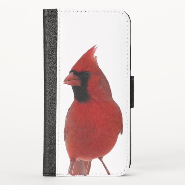 Red Northern Cardinal Bird iPhone X Wallet Case