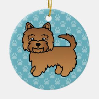 Red Norwich Terrier Cartoon Dog Ceramic Ornament