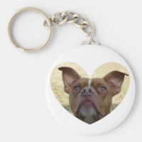 Red Nose Pit Bull Keychain