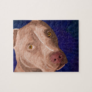 Red Nose Pit Bull with a Blue Background Jigsaw Puzzle