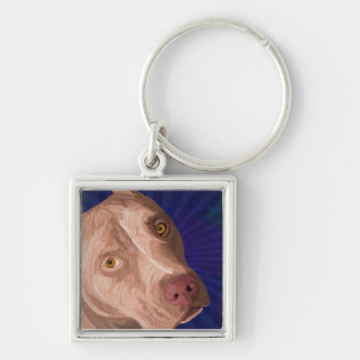 Red Nose Pit Bull with a Blue Background Keychain