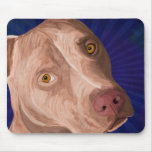 Red Nose Pit Bull with a Blue Background Mouse Pad
