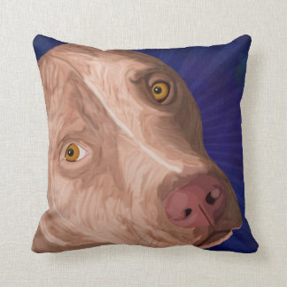 Red Nose Pit Bull with a Blue Background Throw Pillows