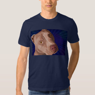Red Nose Pit Bull with a Blue Background T-shirt