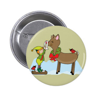 Red Nose Reindeer Button
