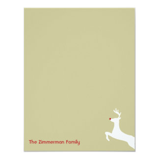 Red nose reindeer Christmas thank you note card
