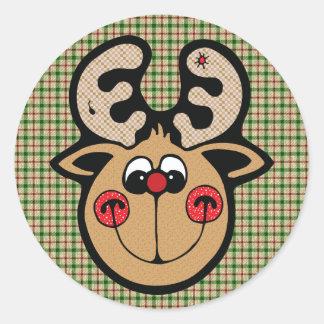 red nose reindeer classic round sticker