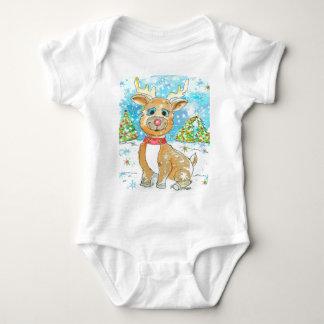 Red Nose Reindeer Design Baby Bodysuit