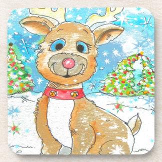 Red Nose Reindeer Design Coaster