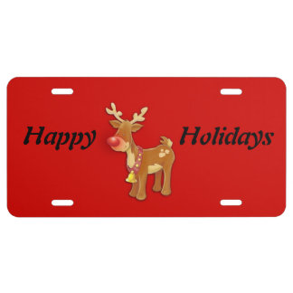 Red Nose Reindeer Happy Holidays License Plate