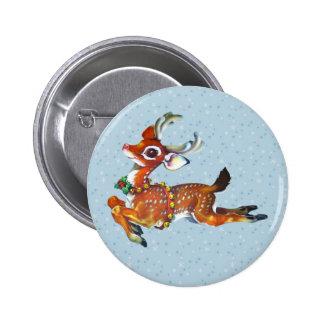 Red Nose Reindeer Vintage Art Button