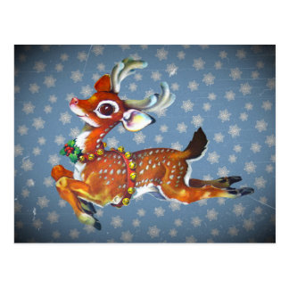 Red Nose Reindeer Vintage Art Postcard