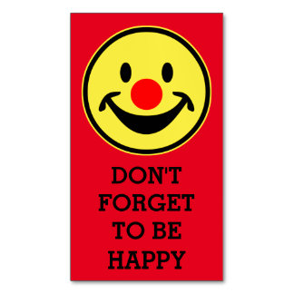 Red Nose Smiley yellow + your backg. & sayings Magnetic Business Cards (Pack Of 25)