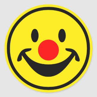 Red Nose Smiley - yellow + your ideas Classic Round Sticker