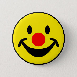 Red Nose Smiley - yellow + your ideas Pinback Button