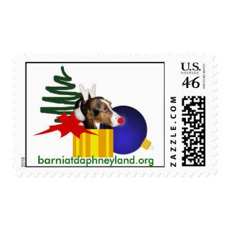 Red Nosed Basset Reindeer Stamps