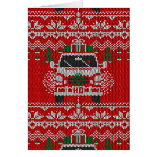 Red Nosed Holiday Road Driver Ugly Sweater Style Card