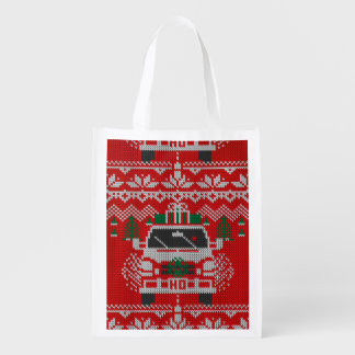 Red Nosed Holiday Road Driver Ugly Sweater Style Grocery Bag