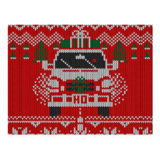 Red Nosed Holiday Van Driver Ugly Sweater Style Postcard