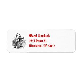 red nosed jackalope return address label