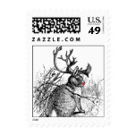 red nosed jackalope small postage