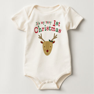 Red-Nosed Reindeer 1st Christmas Baby Bodysuit