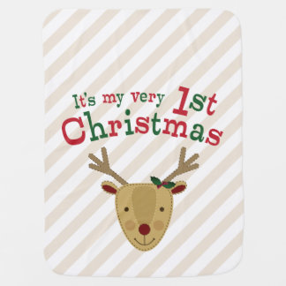 Red-Nosed Reindeer Baby's 1st Christmas Baby Blanket