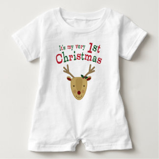 Red-Nosed Reindeer Baby's 1st Christmas Baby Romper