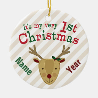 Red-Nosed Reindeer Baby's 1st Christmas Ceramic Ornament