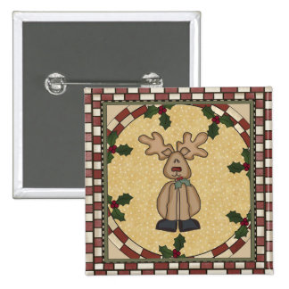 Red Nosed Reindeer 2 Inch Square Button