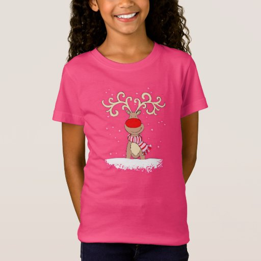 red-nosed reindeer girly pink t-shirt